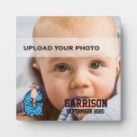 """Placa de la foto del niño con monograma azul de """"G"""