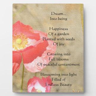 Placa de la foto del poema de la felicidad de las