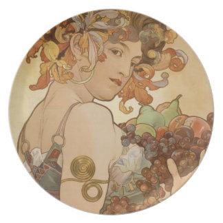 Placa de la fruta de Alfonso Mucha Plato Para Fiesta