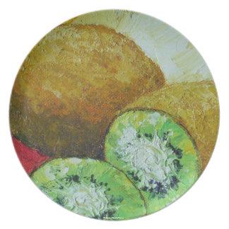 Placa de la fruta de kiwi platos de comidas