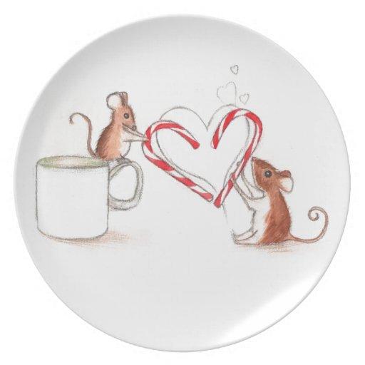Placa de la galleta de los ratones del bastón de c platos