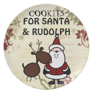 placa de la galleta de santa y de Rudolph Platos Para Fiestas