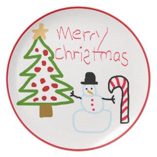 Placa de la galleta del navidad del dibujo de su n plato de comida