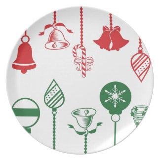 Placa de la galleta del ornamento del navidad plato de cena