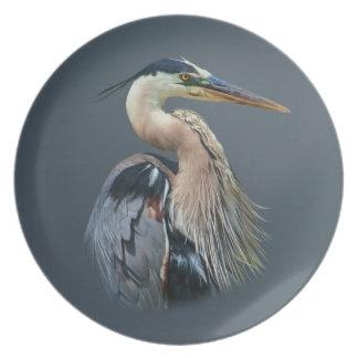 Placa de la garza de gran azul plato para fiesta