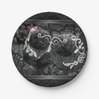 Placa de la gema del cordón de la mascarada de plato de papel de 7 pulgadas