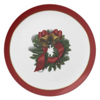 Placa de la guirnalda del navidad plato de comida