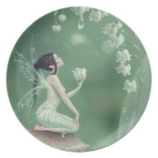 Placa de la hada de la flor del lirio de los platos para fiestas