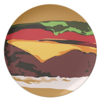 Placa de la hamburguesa del primer platos para fiestas