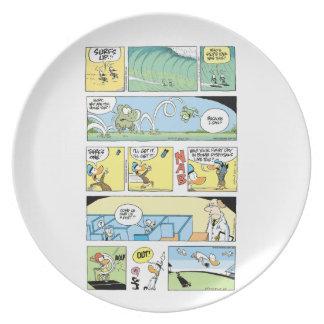 Placa de la historieta del pantano plato de comida