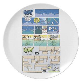 Placa de la historieta del pantano platos
