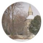 Placa de la imagen de la iglesia - iglesia en la n plato para fiesta
