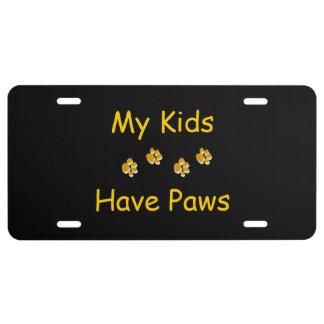 Placa de la impresión de la pata del perro placa de matrícula