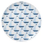Placa de la impresión del barco de vela plato para fiesta