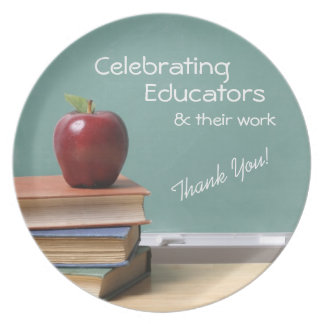 Placa de la invitación del aprecio del educador plato para fiesta
