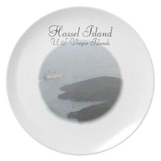 Placa de la isla del molestia plato