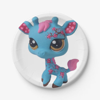 Placa de la jirafa de la flor de cerezo platos de papel