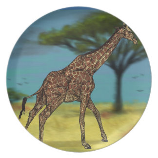 Placa de la jirafa plato para fiesta