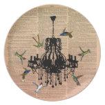 Placa de la lámpara del colibrí de la página del l plato de comida