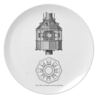 Placa de la linterna del buque faro platos de comidas