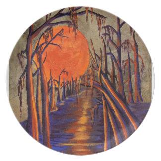 Placa de la luna de cosecha del pantano platos