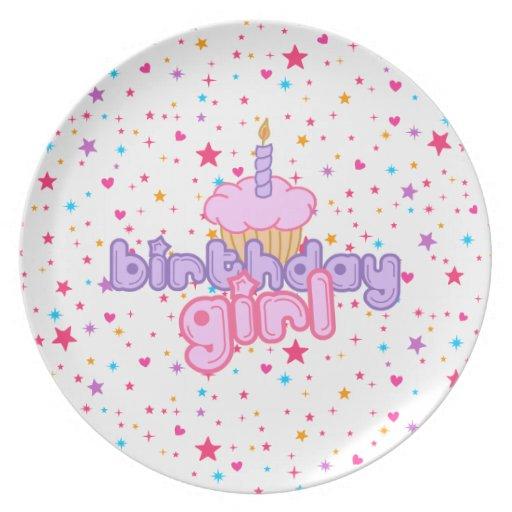Placa de la magdalena del chica del cumpleaños plato