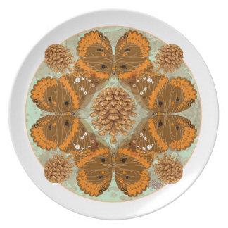 Placa de la mandala del almirante rojo mariposa platos de comidas