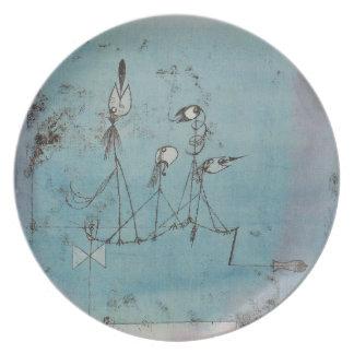 Placa de la máquina de Paul Klee Twittering Plato De Cena
