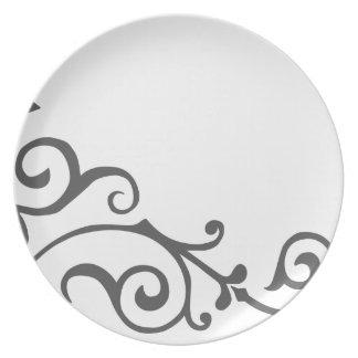 Placa de la marfil del cirro (humo) plato de cena