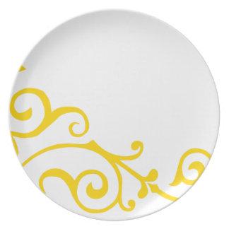 Placa de la marfil del cirro (oro) plato de cena