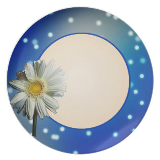 Placa de la margarita blanca platos de comidas
