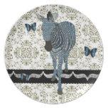 Placa de la mariposa de Boho y del damasco de Zeb Platos