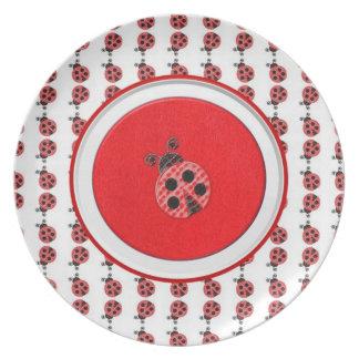 Placa de la mariquita plato para fiesta