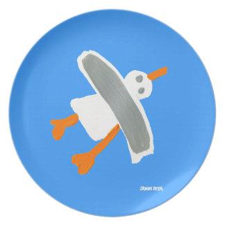 Placa de la melamina: Azul de la gaviota el Plato De Cena