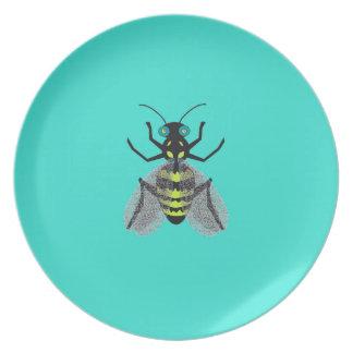 Placa de la melamina con la abeja colorida platos de comidas