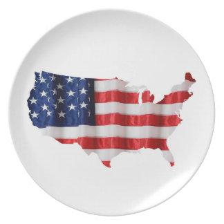 Placa de la melamina de Estados Unidos Platos Para Fiestas