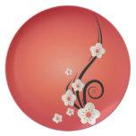 Placa de la melamina de la flor de cerezo platos