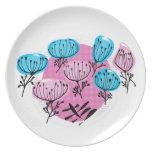 Placa de la melamina de la flor del soplo plato de cena
