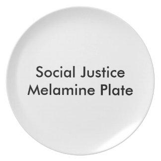 Placa de la melamina de la justicia social plato para fiesta