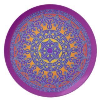 Placa de la melamina de la mandala plato para fiesta