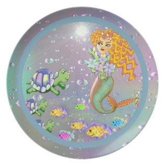 Placa de la melamina de la sirena platos para fiestas