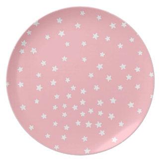 Placa de la melamina de las estrellas del rosa y platos