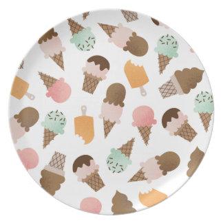 Placa de la melamina de los conos de helado plato de cena