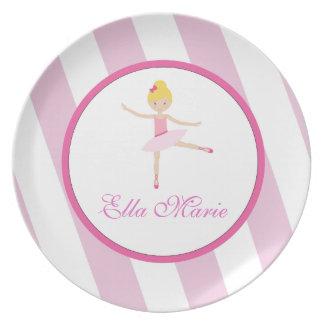Placa de la melamina de los niños de la bailarina platos para fiestas