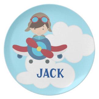 Placa de la melamina de los niños del aeroplano plato de comida