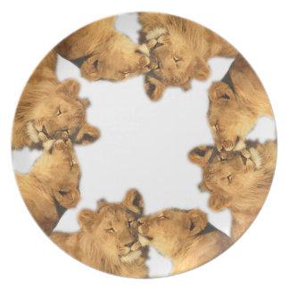 Placa de la melamina de los pares del león plato de cena
