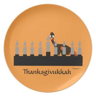 Placa de la melamina de Thanksgivukkah Menorah Plato De Comida