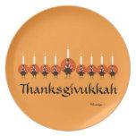 Placa de la melamina de Thanksgivukkah Turquía Men Platos De Comidas