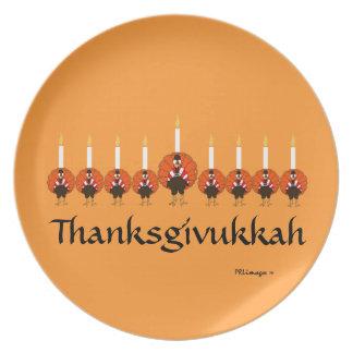 Placa de la melamina de Thanksgivukkah Turquía Men Plato De Cena