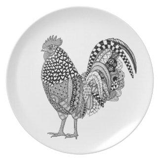 placa de la melamina del arte del gallo del plato